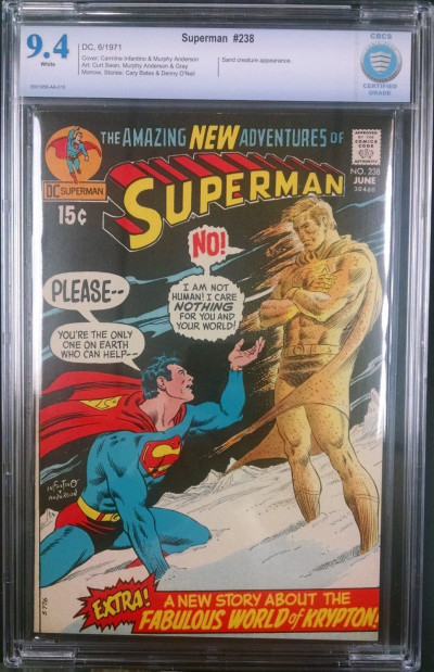 SUPERMAN #238 CBCS GRADED 9.4 WHITE PAGES SAND CREATURE APP