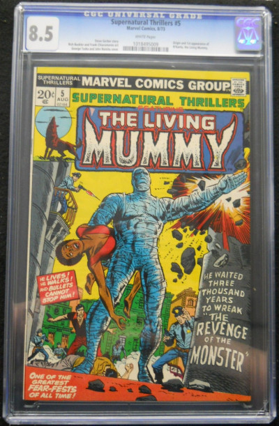SUPERNATURAL THRILLERS #5 CGC GRADED 8.5 LIVING MUMMY WHITE PAGES
