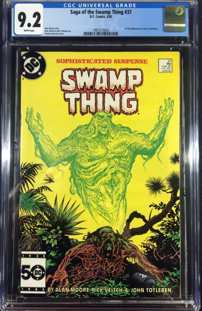 Swamp Thing (1982) #37 CGC 9.2 white pages 1st app Hellblazer (1997273003)