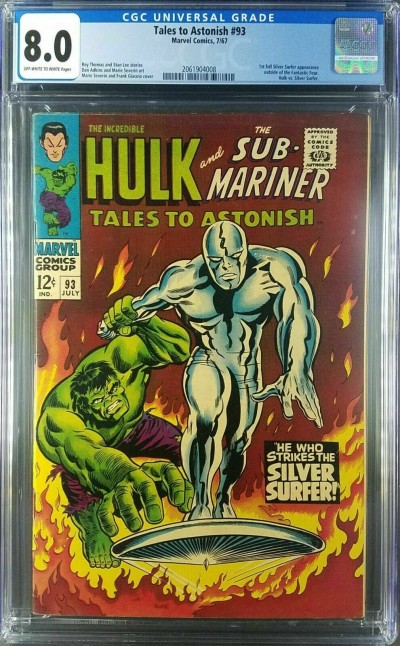 Tales to Astonish #93 CGC 8.0 Hulk vs Surfer CLASSIC 1st Full Surfer Outside FF|