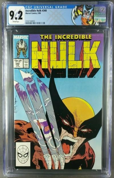 The Incredible Hulk #340 (1988) CGC 9.2 WP Custom Wolverine label Classic Cvr|