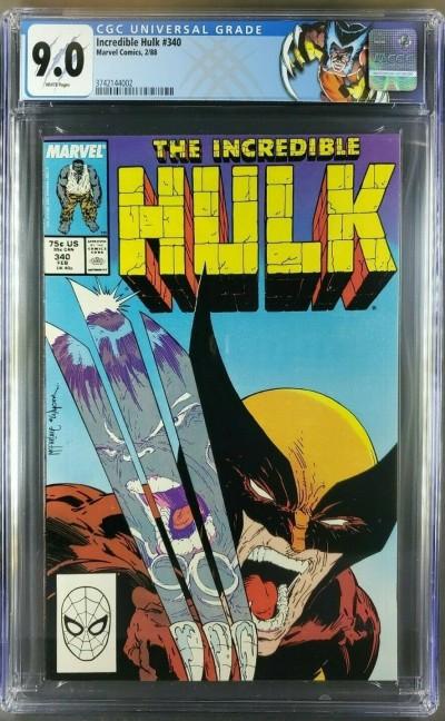 The Incredible Hulk #340 (1988) CGC 9.0 WP Custom Wolverine label Classic Cvr 
