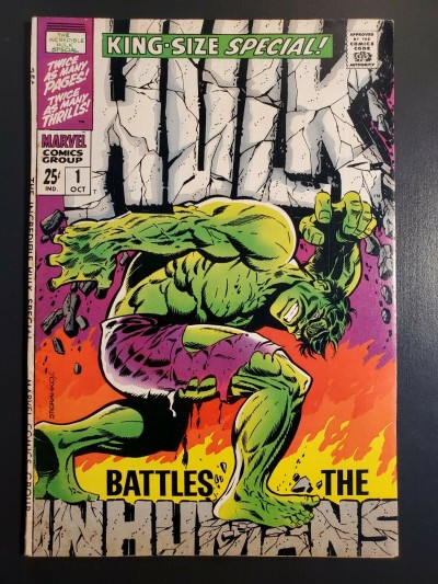 THE INCREDIBLE HULK ANNUAL #1 (1968) VF/VF+ CLASSIC STERANKO COVER VS INHUMANS 