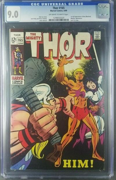 Thor #165 1969 CGC 9.0 VF/NM old label 1st full App Him/Adam Warlock 1290032020|