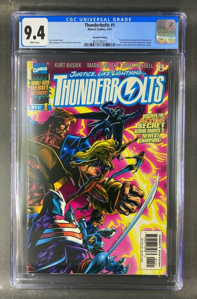 Thunderbolts (1997) #1 CGC 9.4 White Pages Second Print Variant (3824796015)