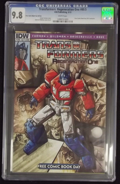 TRANSFORMERS REGENERATION ONE #80.5 FCBD CGC 9.8 WHITE PAGES
