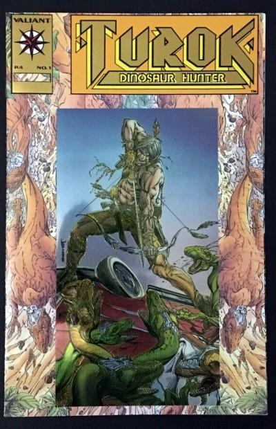 Turok Dinosaur Hunter (1993) #1 VF+ (8.5) gold logo variant cover Valiant
