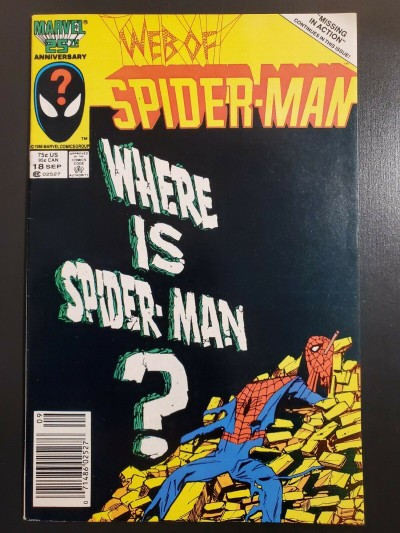 Web of Spider-Man #18 (1986) VF (8.0) 1st cameo appearance of Eddie Brock UPC |