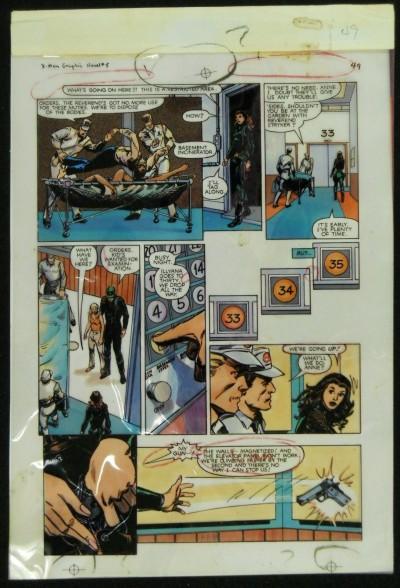 X-MEN GOD LOVES, MAN KILLS GRAPHIC PG 49  ORIGINAL COLOR PROOF ACETATE  GUIDE