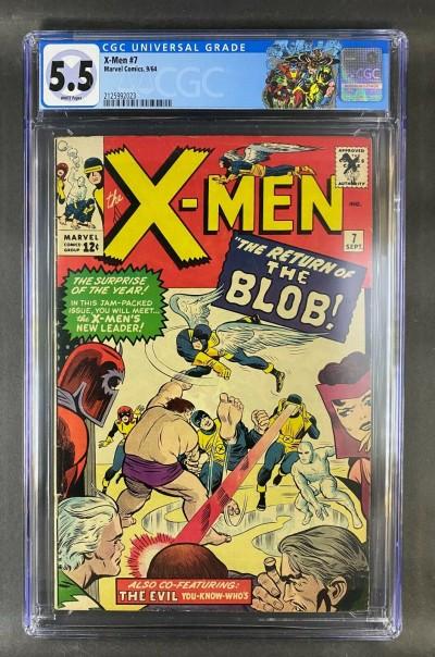 X-Men (1963) #7 CGC 5.5 White Pages 1st App Cerebro 2nd Blob (2125992023)