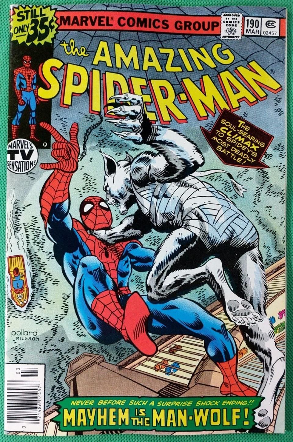 Amazing Spider-Man (1963) #190 VF/NM (9 0) vs Man-Wolf with John Byrne art