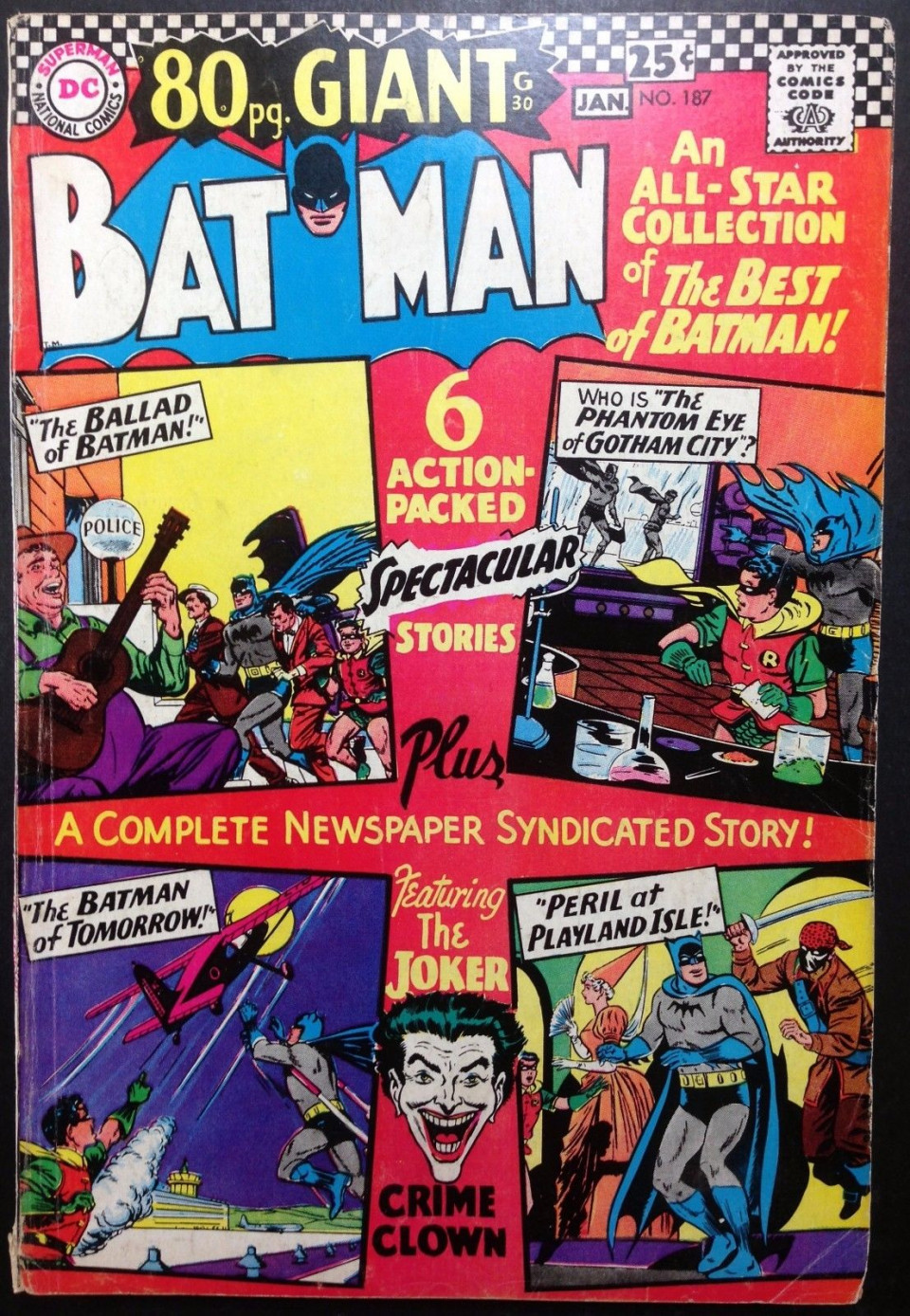3d2e9d84c5b4 BATMAN (1940)  187 VG+ (4.5) Joker cover and story 80 page giant