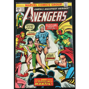 Avengers (1963) #123 NM- (9.2) part 4 of 4 vs Zodiac origin of Mantis