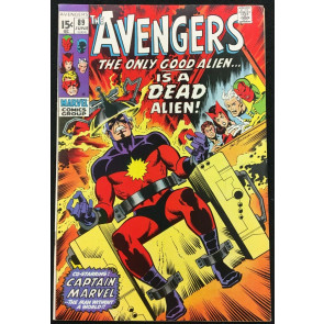 Avengers (1963) #89 (7.5) Kree-Skrull War part 1/9 Captain Marvel electric chair
