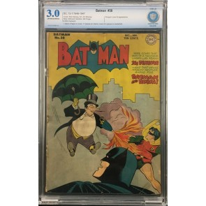 Batman (1940) #38 CBCS 3.0 off-white pages Penguin cover & app