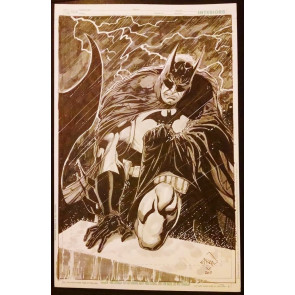 Batman in the Rain Commission Cover Splash Page Original Ethan Van Sciver Art