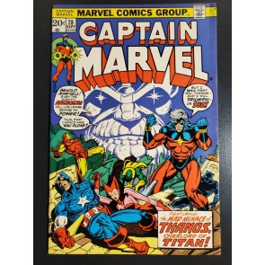 CAPTAIN MARVEL #28 (1973) VF+ (8.5) JIM STARLIN STORY/ART 3RD APP THANOS COVER |