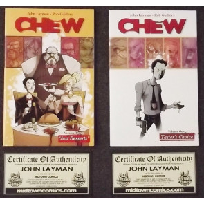 CHEW (2009) TPB VOLUMES 1 & 3 NM 1ST FIRST PRINTS SIGNED COA JOHN LAYMAN IMAGE