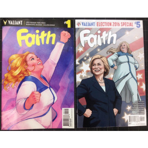 Faith (2016) #1 2nd print and #5 Hillary Clinton 2016 Election special variant
