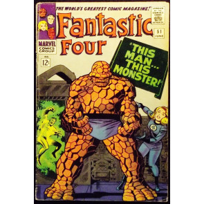 "FANTASTIC FOUR #51 VG/FN CLASSIC THING COVER ""THIS MAN, THIS MONSTER"" STORY"