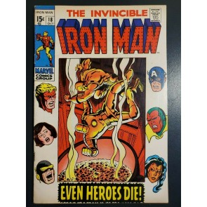 INVINCIBLE IRON MAN 18 (1969) VF- (7.5) HIGH GRADE EVEN HEROES DIE |