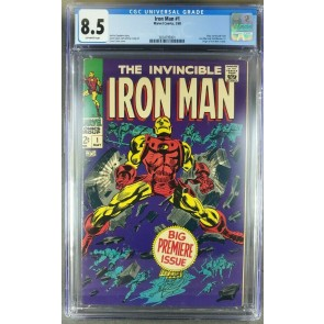 Iron Man #1 (1968) CGC 8.5 VF+ OW 1st solo title issue (3824795001)|