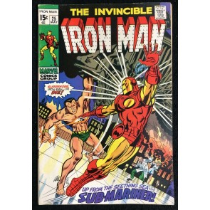 Iron Man (1968) #25 FN/VF (7.0) Sub-Mariner battle cover