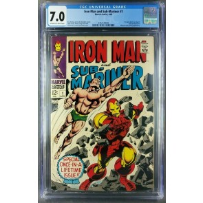 IRON MAN and SUB-MARINER #1 (1968) CGC 7.0 OWW Predates Iron Man #1 Sub M. #1 |