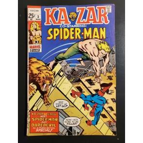 KA-ZAR #3 (1971) F/VF (7.0) Kazar vs. Spider-Man battle cover Stan Lee Romita|
