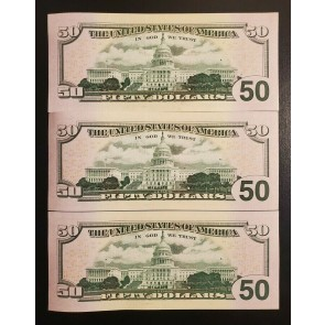 LOT OF 3 $50 2017A RARE STAR NOTE 160,000 SHEET TYPE LOW# PB00132126* 7* 8* |