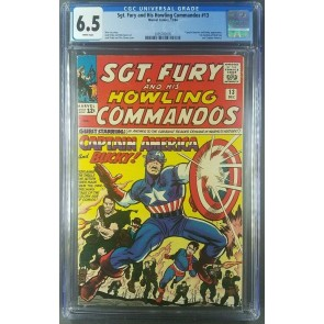 Sgt Fury #13 CGC 6.5 White Pages Kirby Classic Captain America cover 2095782005|