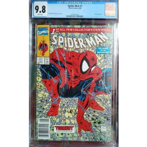 SPIDER-MAN #1 (1990) CGC 9.8 NM/MT WHITE TODD McFarlane UPC NEWSSTAND Variant ~