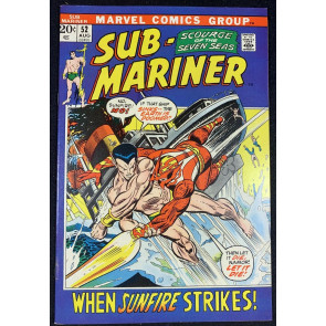 Sub-Mariner (1968) #52 FN/VF (7.0) VS Sunfire Picture Frame Cover Bill Everett