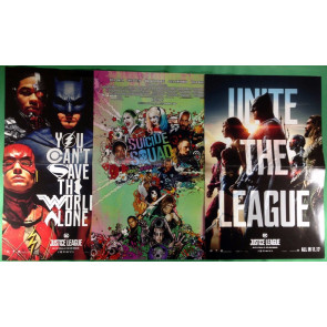 Suicide Squad & Justice League promotional movie posters lot of 3