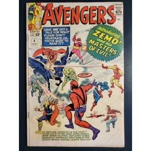THE AVENGERS #6 (1964) G (2.0) 1ST APPEARANCE MASTERS OF EVIL AND BARON ZEMO |