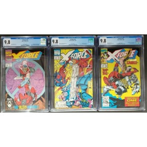X-force #2, #4, #15 (1991) CGC 9.8 lot of 3 Deadpool, 2nd, 3rd app. Cable cov.|